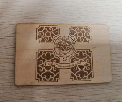 wood key tag card